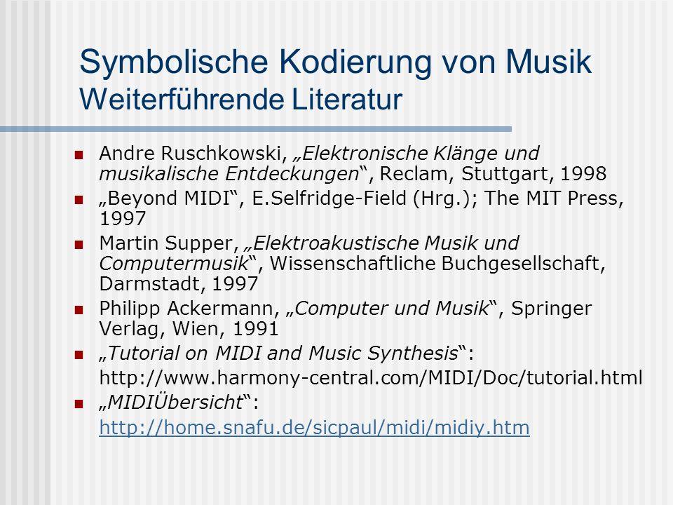 Symbolische Kodierung von Musik Weiterführende Literatur