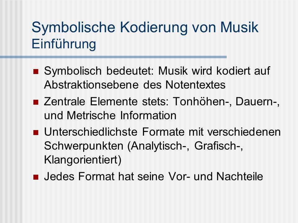 Symbolische Kodierung von Musik Einführung