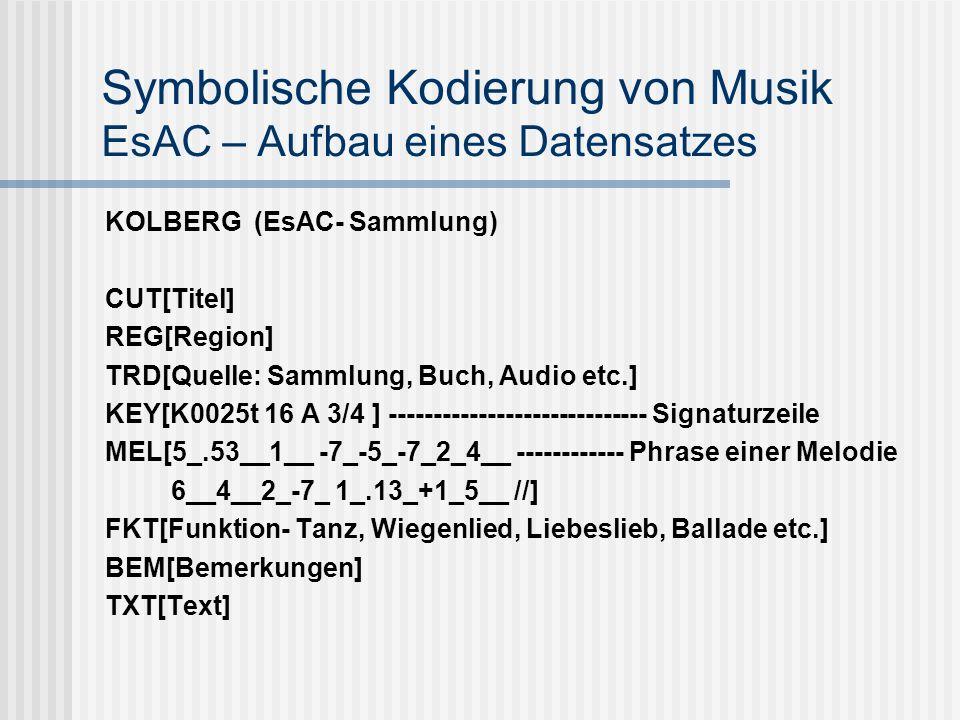 Symbolische Kodierung von Musik EsAC – Aufbau eines Datensatzes