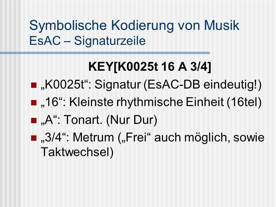 Symbolische Kodierung von Musik EsAC – Signaturzeile