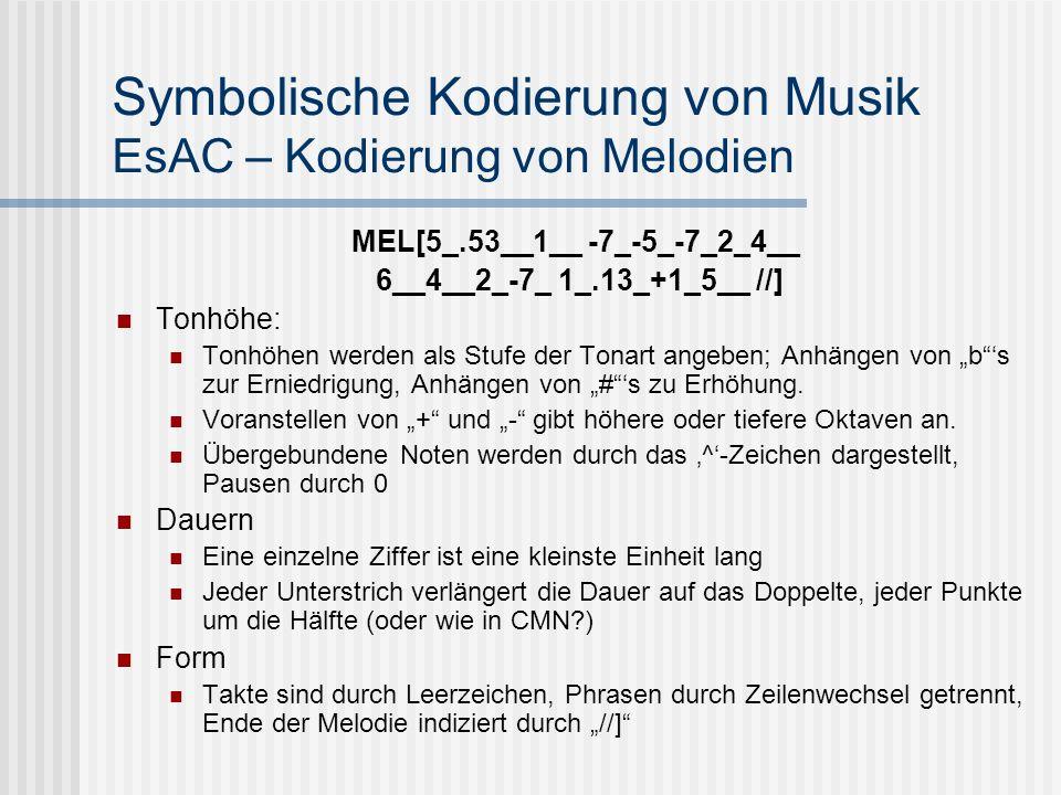 Symbolische Kodierung von Musik EsAC – Kodierung von Melodien