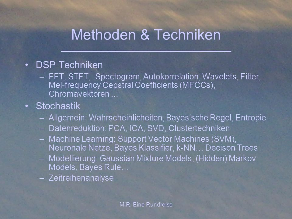 Methoden & Techniken DSP Techniken Stochastik