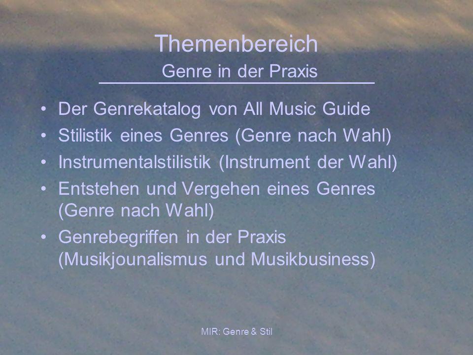 Themenbereich Genre in der Praxis
