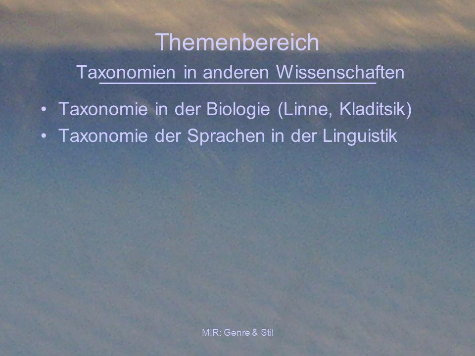 Themenbereich Taxonomien in anderen Wissenschaften