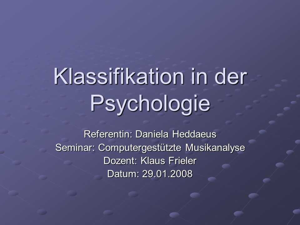 Klassifikation in der Psychologie