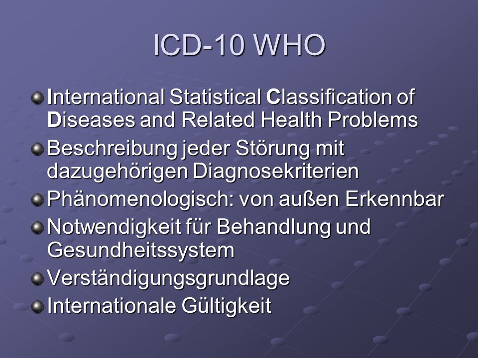 ICD-10 WHOInternational Statistical Classification of Diseases and Related Health Problems.