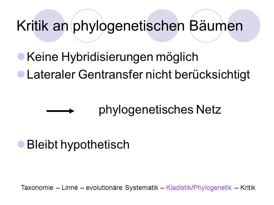 Kritik an phylogenetischen Bäumen