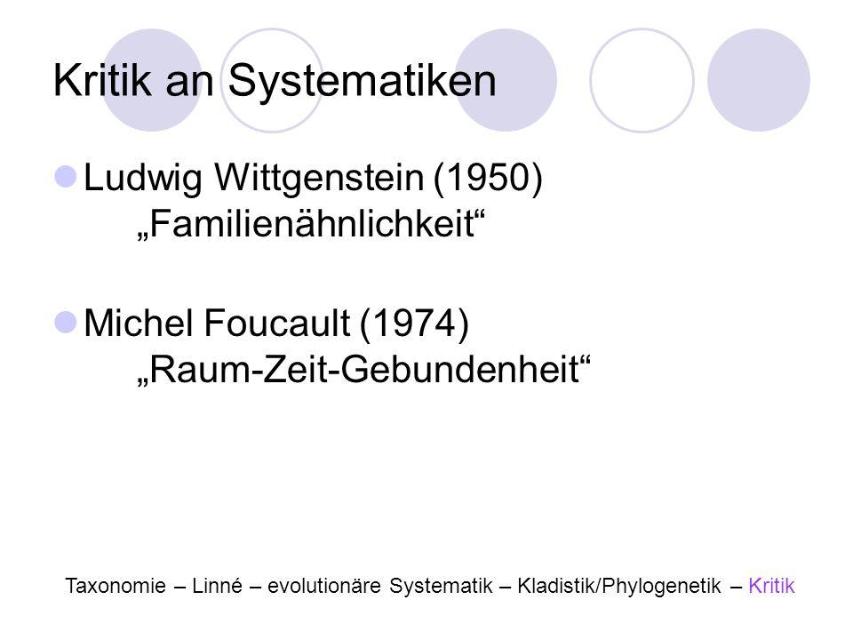 Kritik an Systematiken