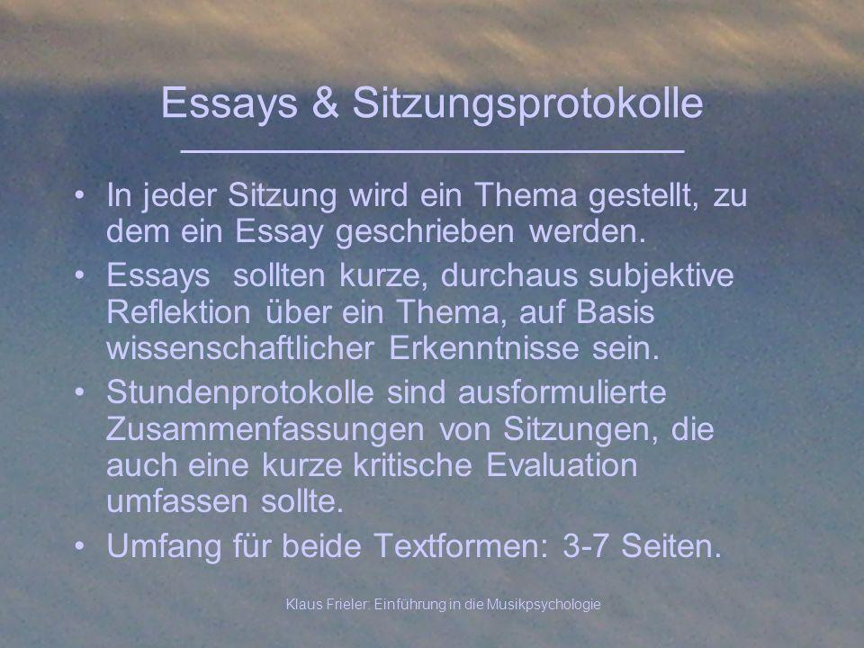 Essays & Sitzungsprotokolle
