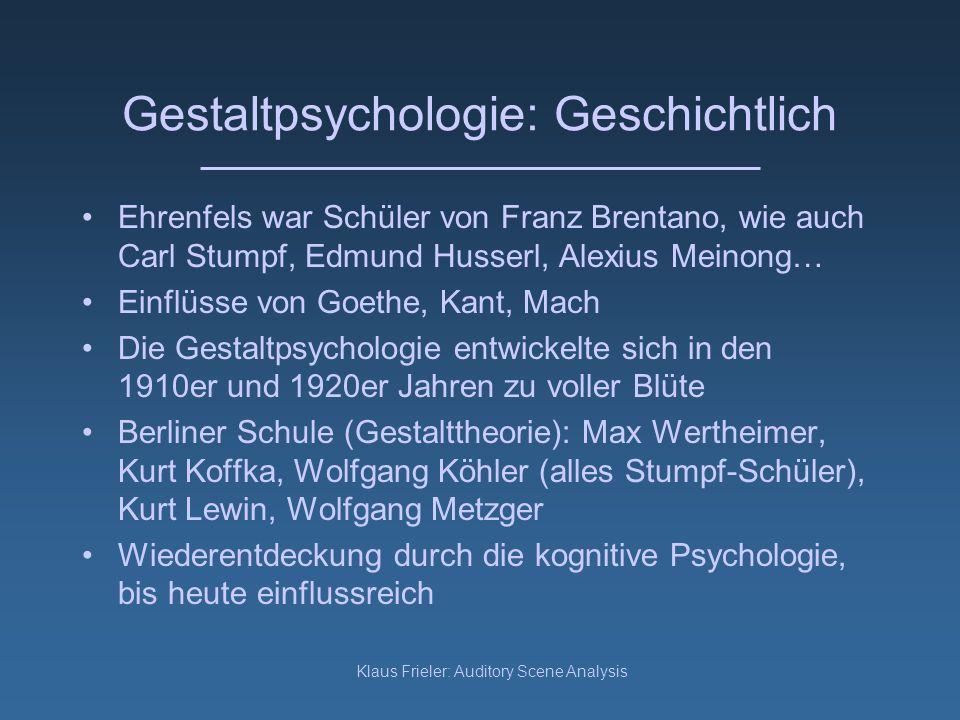 Gestaltpsychologie: Geschichtlich
