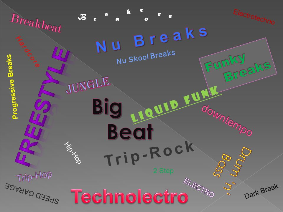 Freestyle Big Beat Technolectro N u B r e a k s Trip-Rock Breakbeat