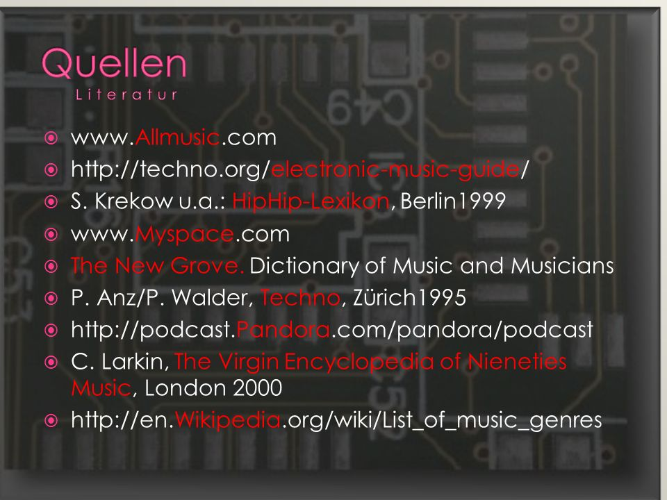 Quellen Literatur www.Allmusic.com