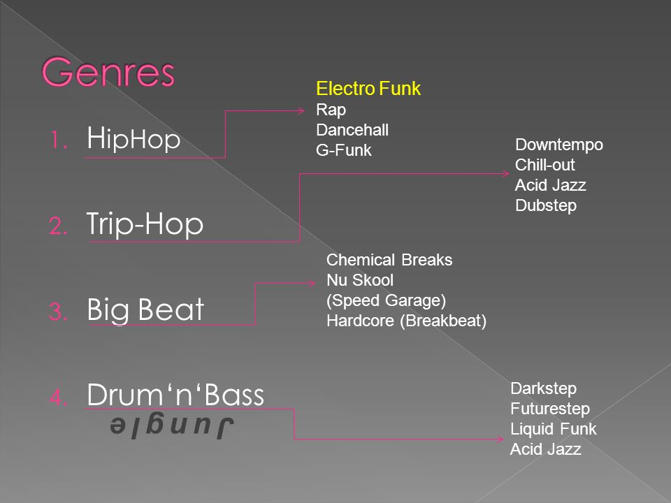 Genres HipHop Trip-Hop Big Beat Drum'n'Bass Jungle Electro Funk Rap