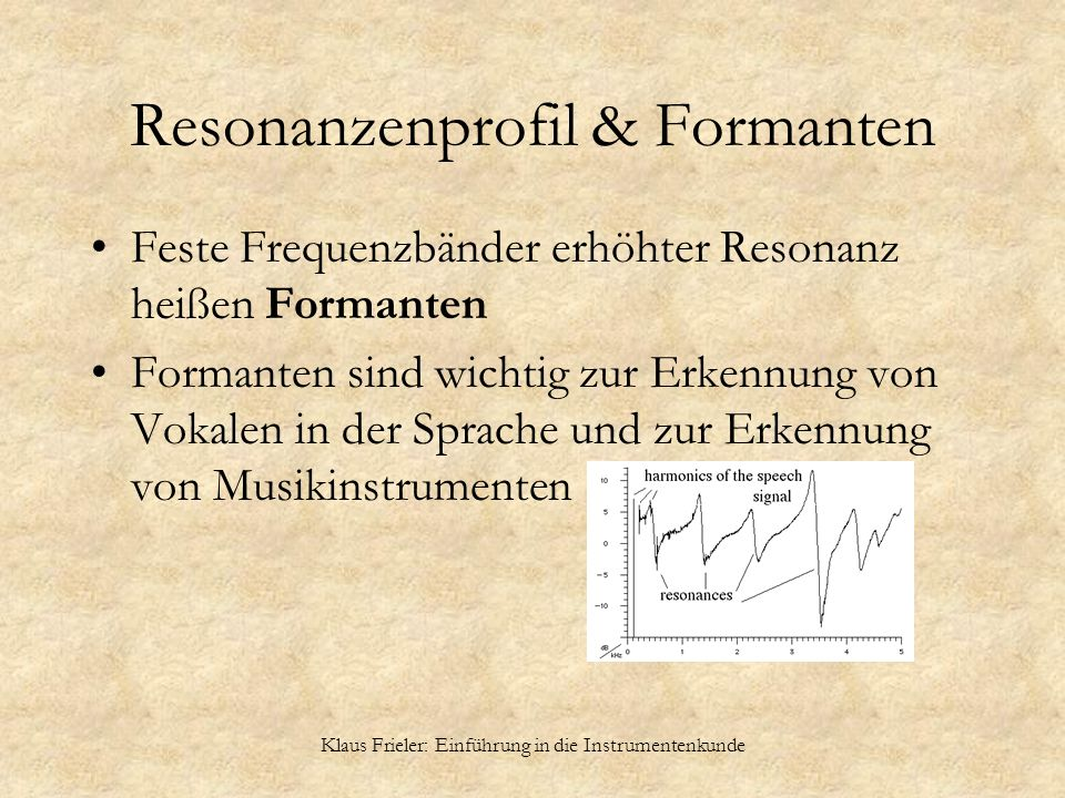 Resonanzenprofil & Formanten