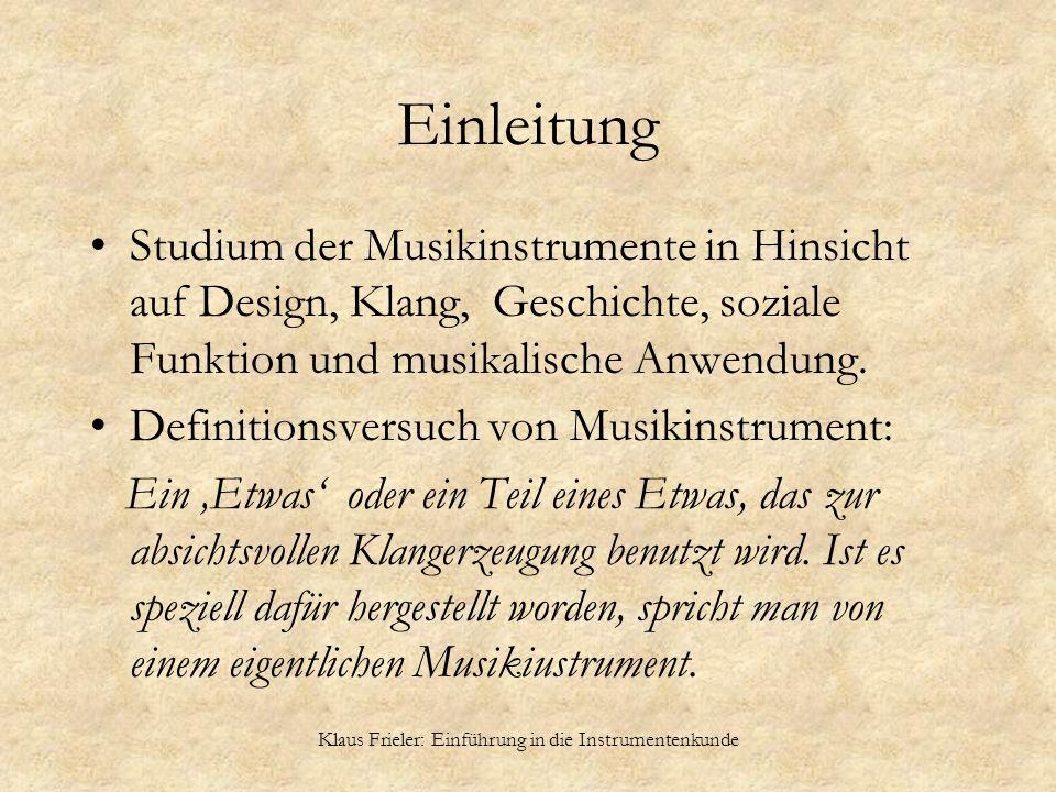 Klaus Frieler: Einführung in die Instrumentenkunde