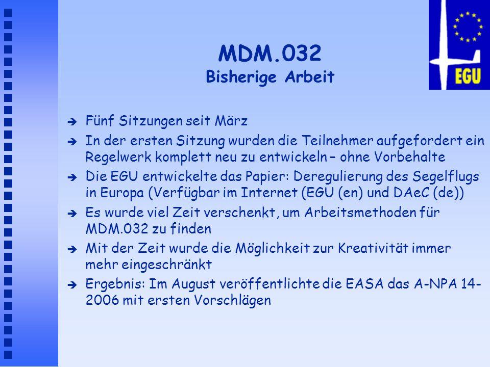 MDM.032 Bisherige Arbeit Fünf Sitzungen seit März