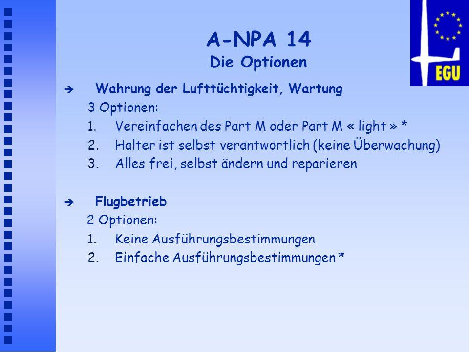 A-NPA 14 Die Optionen Wahrung der Lufttüchtigkeit, Wartung 3 Optionen:
