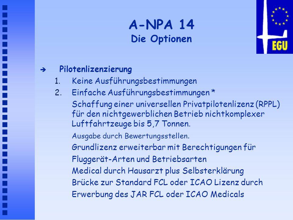 A-NPA 14 Die Optionen Pilotenlizenzierung
