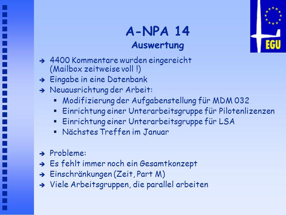 A-NPA 14 Auswertung 4400 Kommentare wurden eingereicht (Mailbox zeitweise voll !) Eingabe in eine Datenbank.