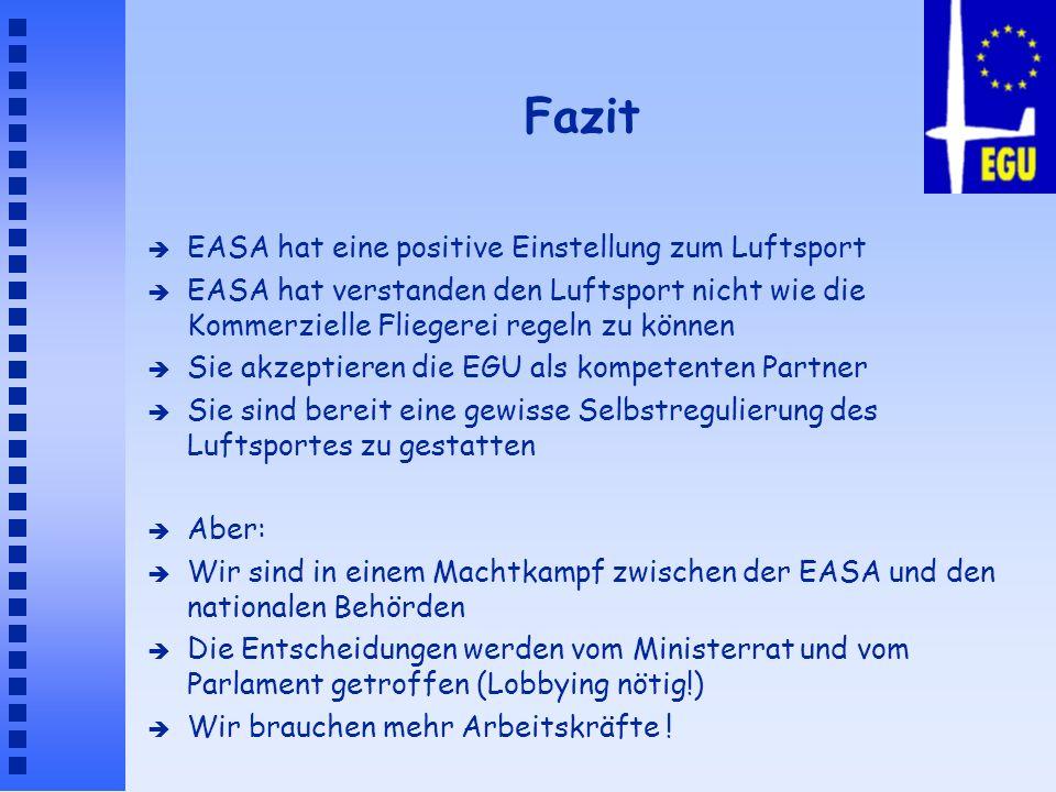 Fazit EASA hat eine positive Einstellung zum Luftsport