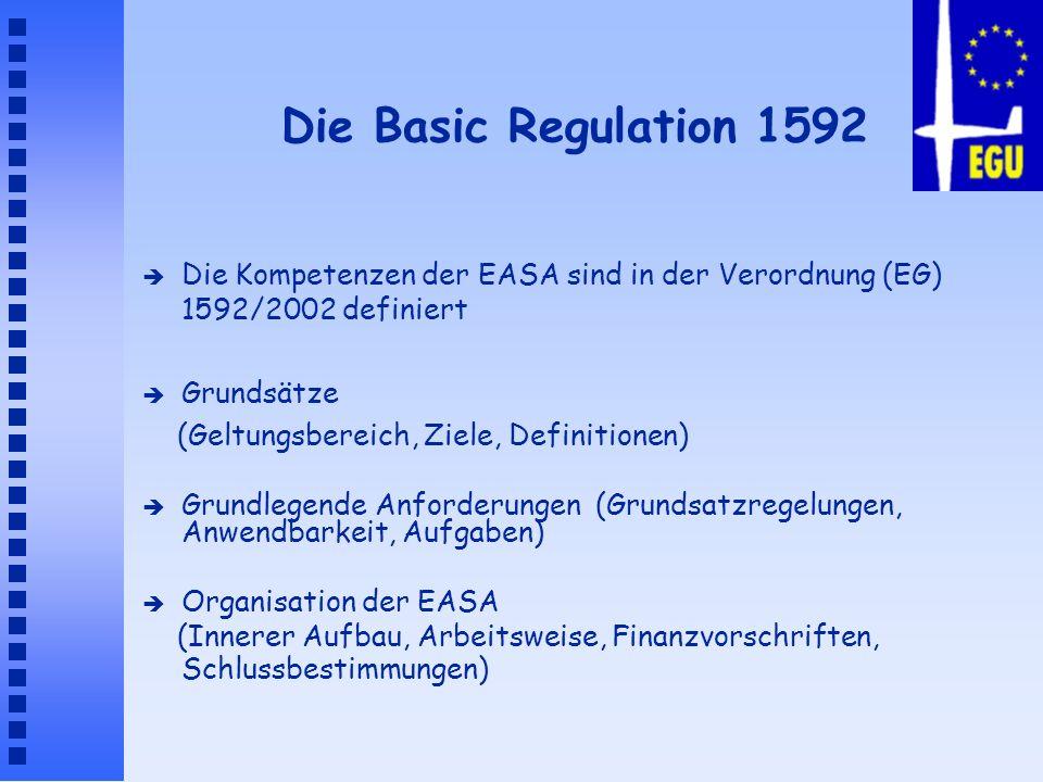 Die Basic Regulation 1592Die Kompetenzen der EASA sind in der Verordnung (EG) 1592/2002 definiert. Grundsätze.