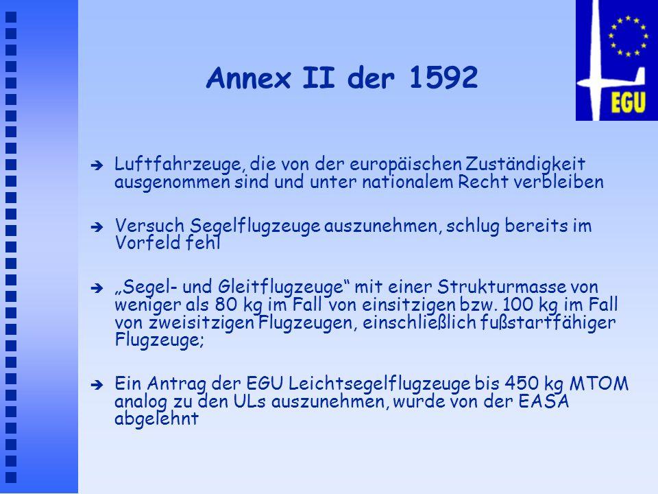 Annex II der 1592 Luftfahrzeuge, die von der europäischen Zuständigkeit ausgenommen sind und unter nationalem Recht verbleiben.