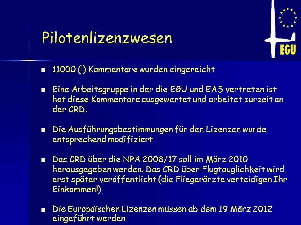 Pilotenlizenzwesen 11000 (!) Kommentare wurden eingereicht