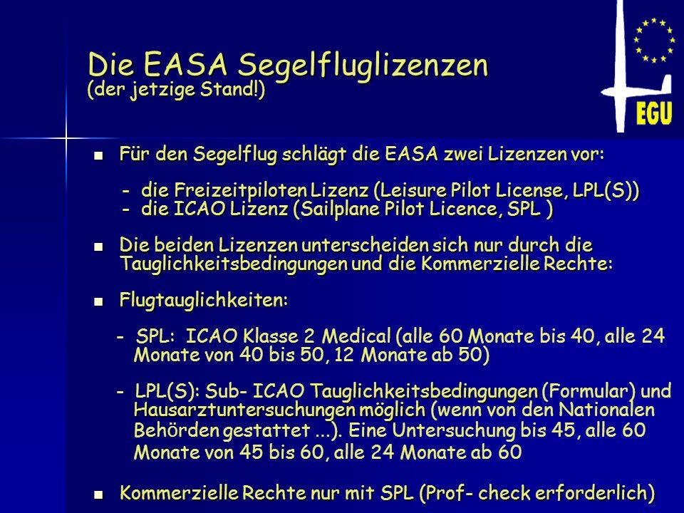 Die EASA Segelfluglizenzen (der jetzige Stand!)