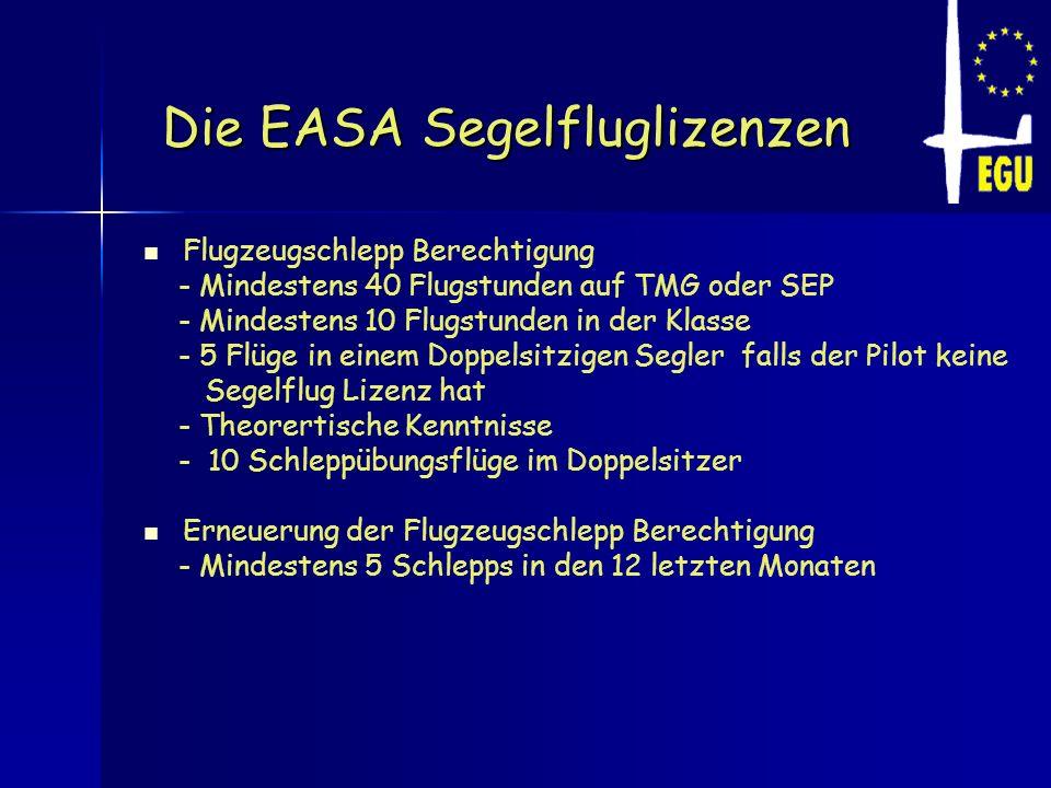 Die EASA Segelfluglizenzen