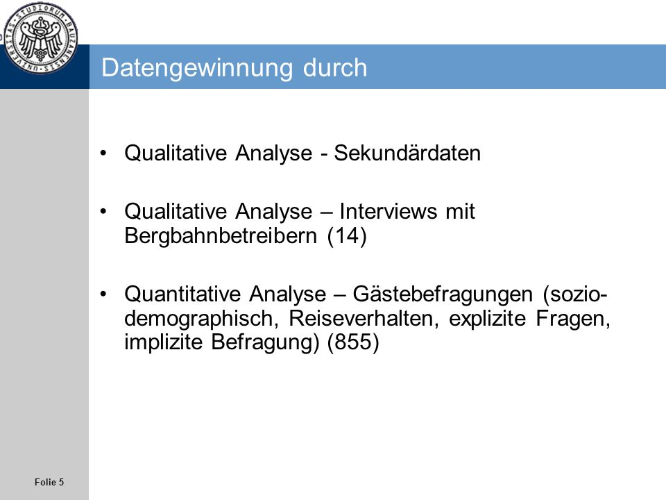 Datengewinnung durch Qualitative Analyse - Sekundärdaten