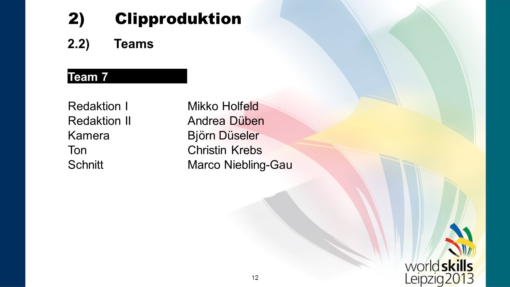 2) Clipproduktion 2.2) Teams Team 7 Redaktion I Mikko Holfeld
