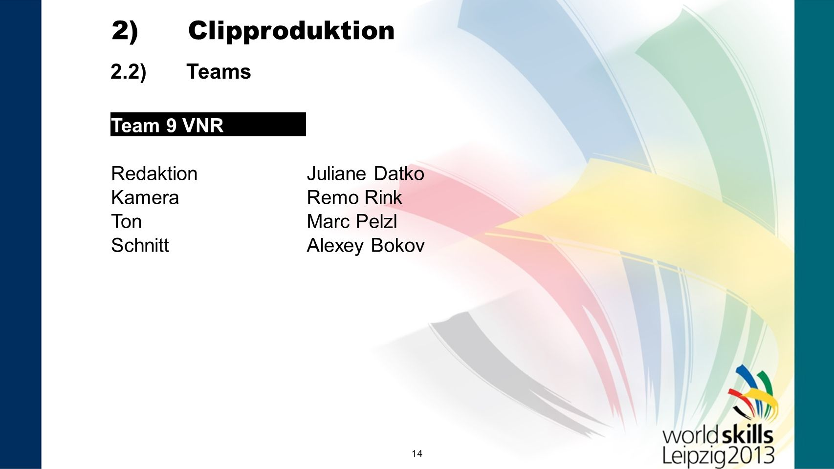 2) Clipproduktion 2.2) Teams Team 9 VNR Redaktion Juliane Datko Kamera