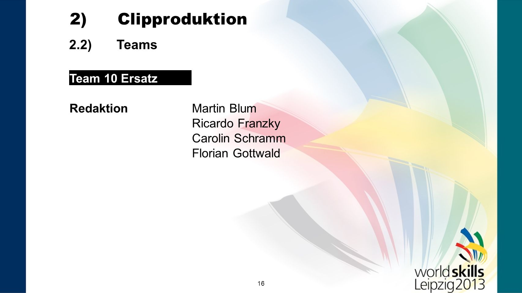 2) Clipproduktion 2.2) Teams Team 10 Ersatz Redaktion Martin Blum
