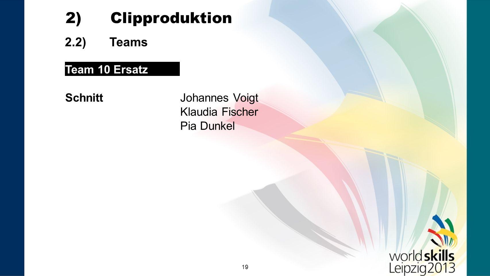 2) Clipproduktion 2.2) Teams Team 10 Ersatz Schnitt Johannes Voigt