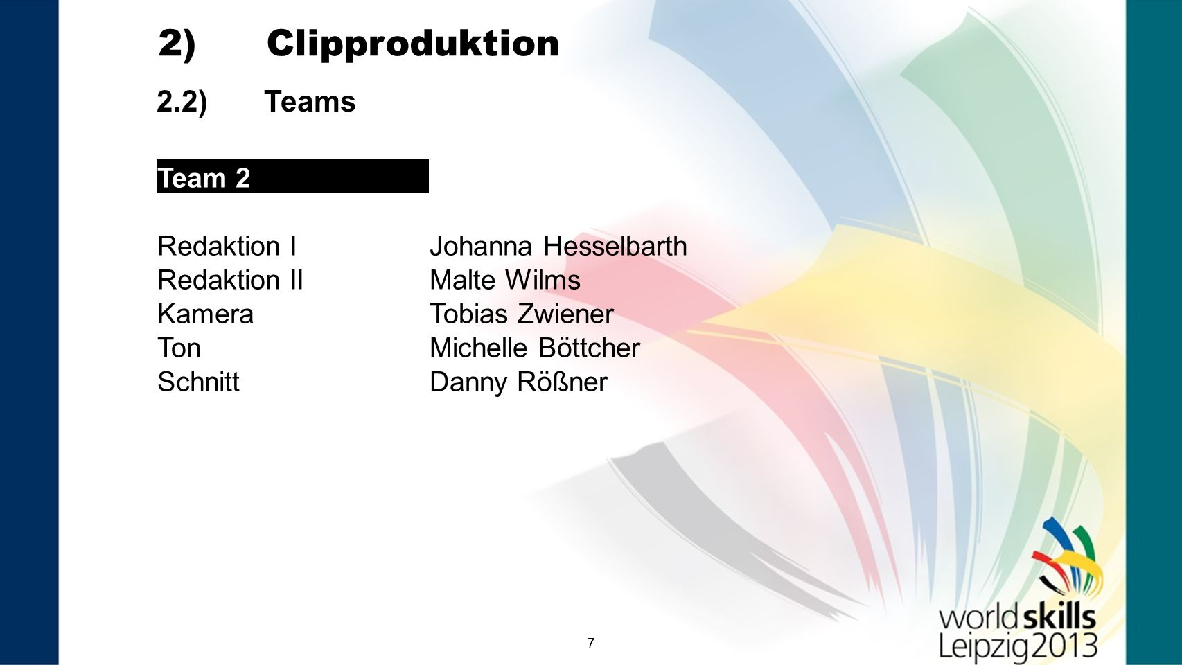 2) Clipproduktion 2.2) Teams Team 2 Redaktion I Johanna Hesselbarth