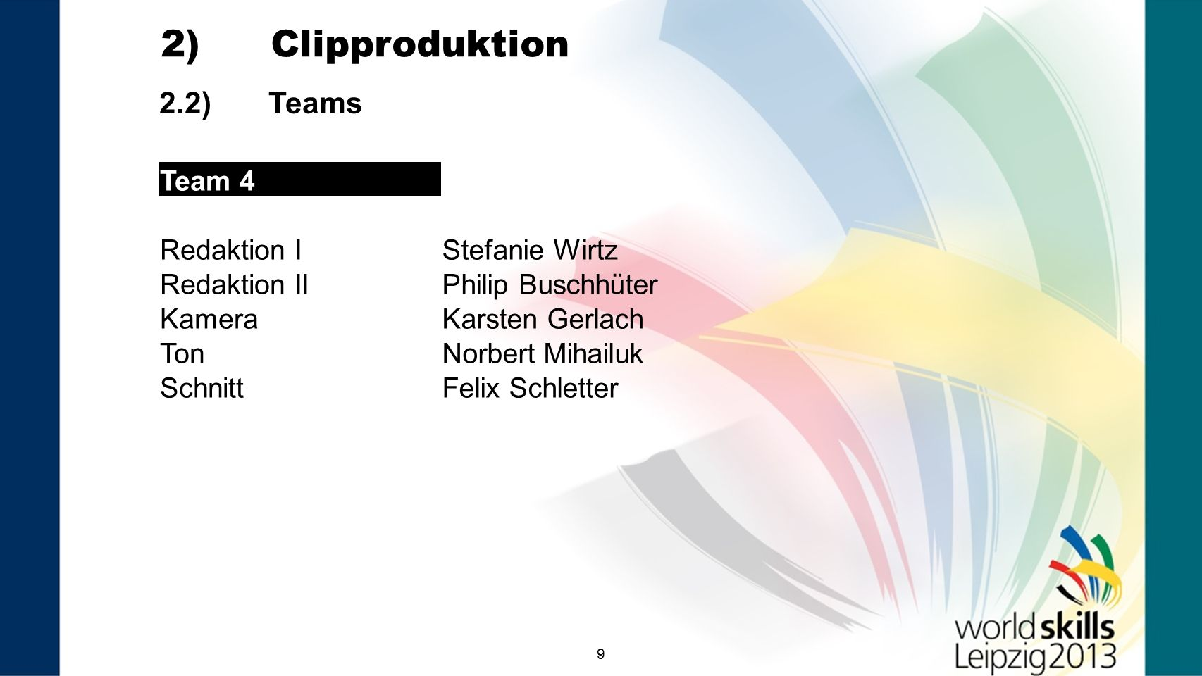 2) Clipproduktion 2.2) Teams Team 4 Redaktion I Stefanie Wirtz
