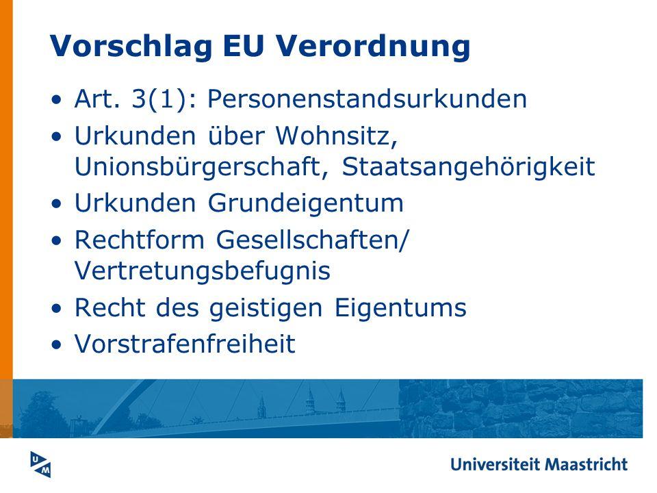 Vorschlag EU Verordnung