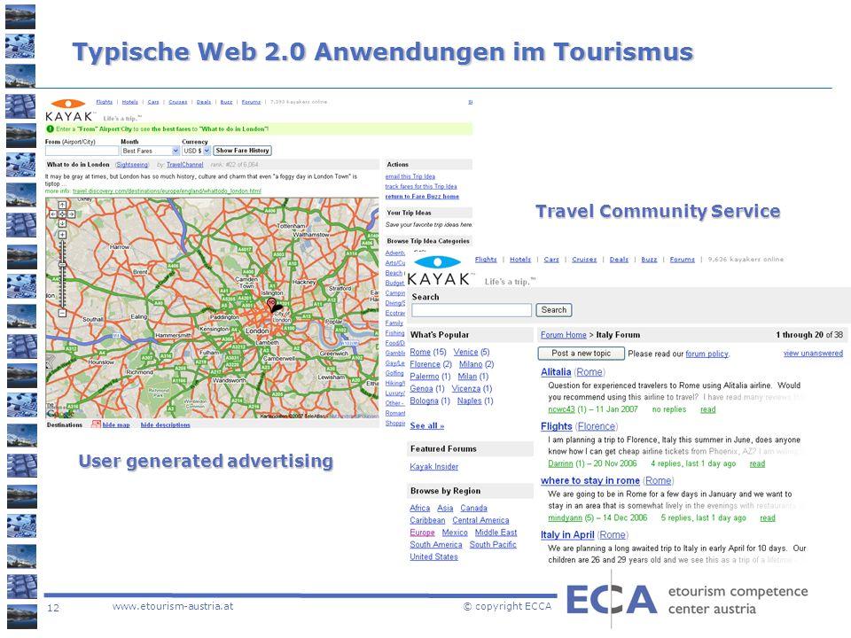 Typische Web 2.0 Anwendungen im Tourismus