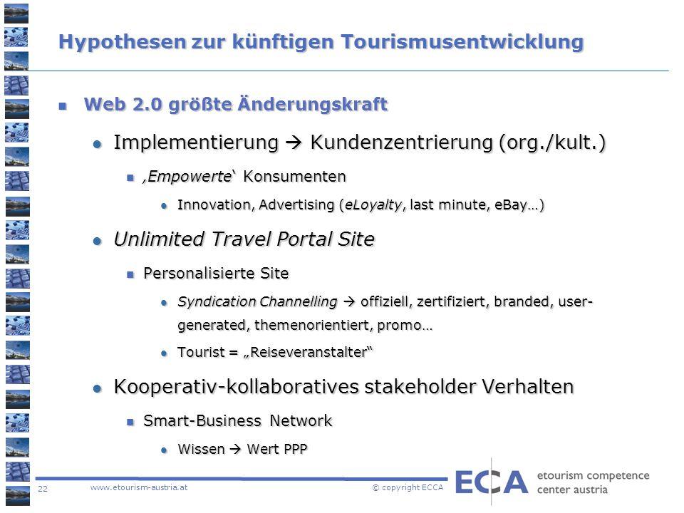 Hypothesen zur künftigen Tourismusentwicklung
