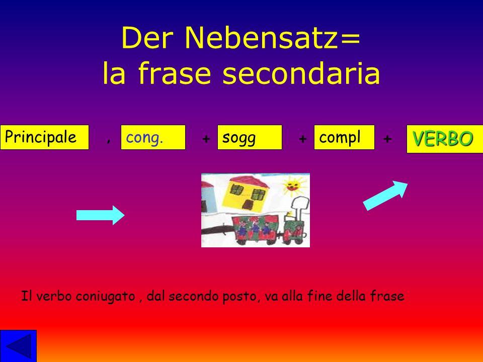 Der Nebensatz= la frase secondaria