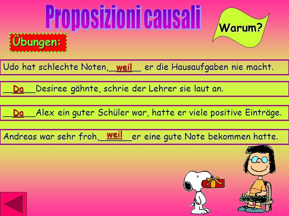 Proposizioni causali Warum Übungen: