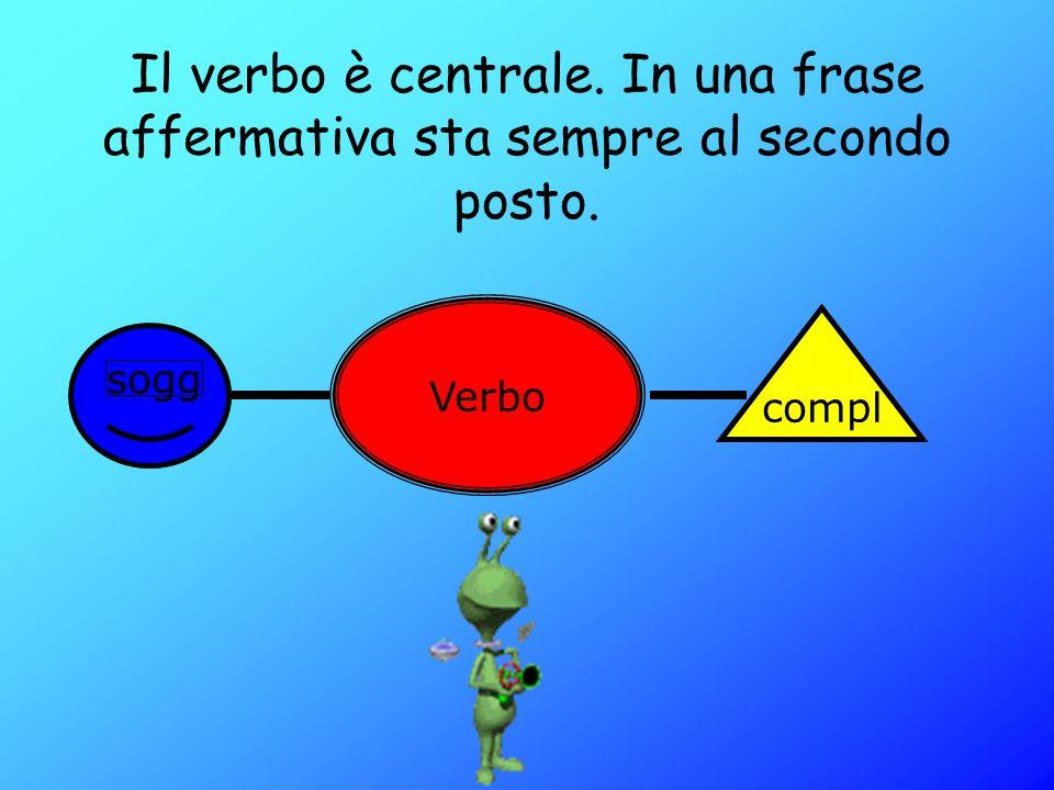 Il verbo è centrale. In una frase affermativa sta sempre al secondo posto.