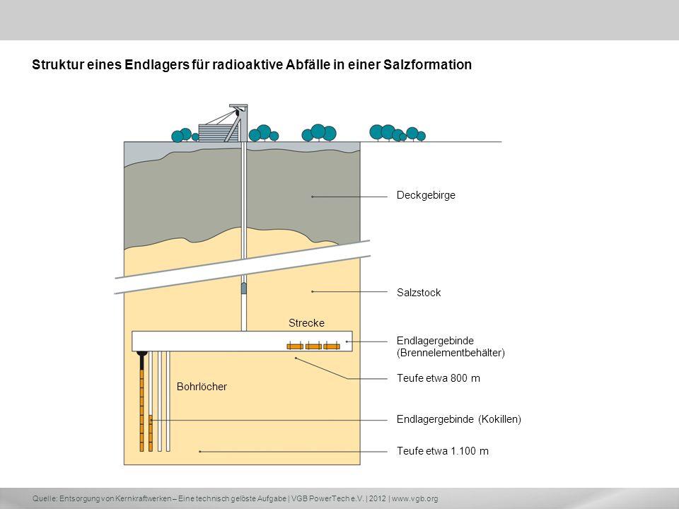 Struktur eines Endlagers für radioaktive Abfälle in einer Salzformation