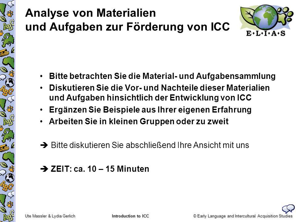 Analyse von Materialien und Aufgaben zur Förderung von ICC