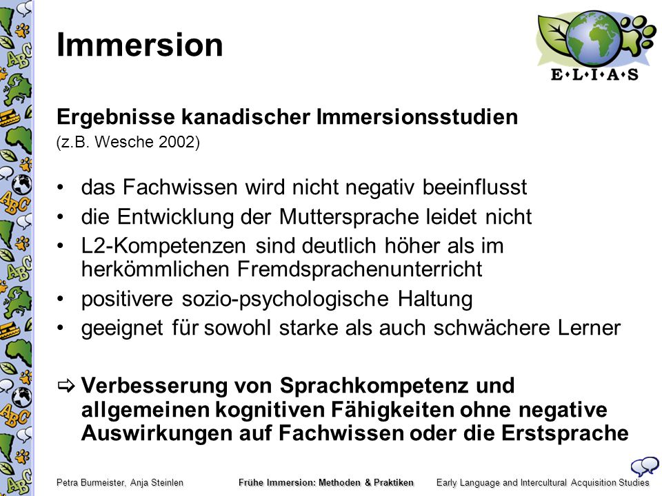 Immersion Ergebnisse kanadischer Immersionsstudien