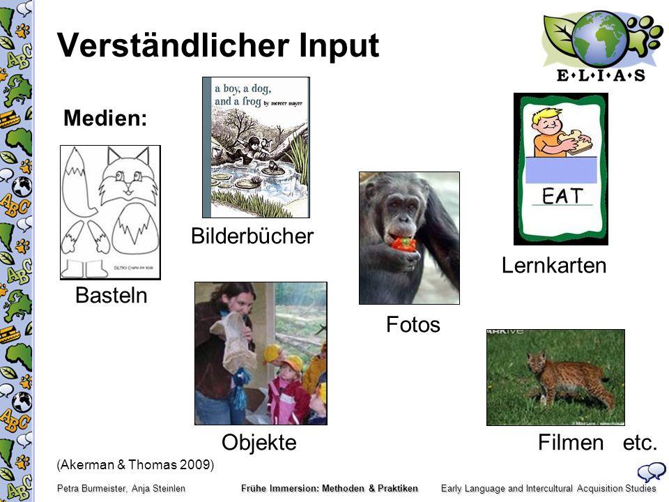 Verständlicher Input Medien: Bilderbücher Lernkarten Basteln Fotos