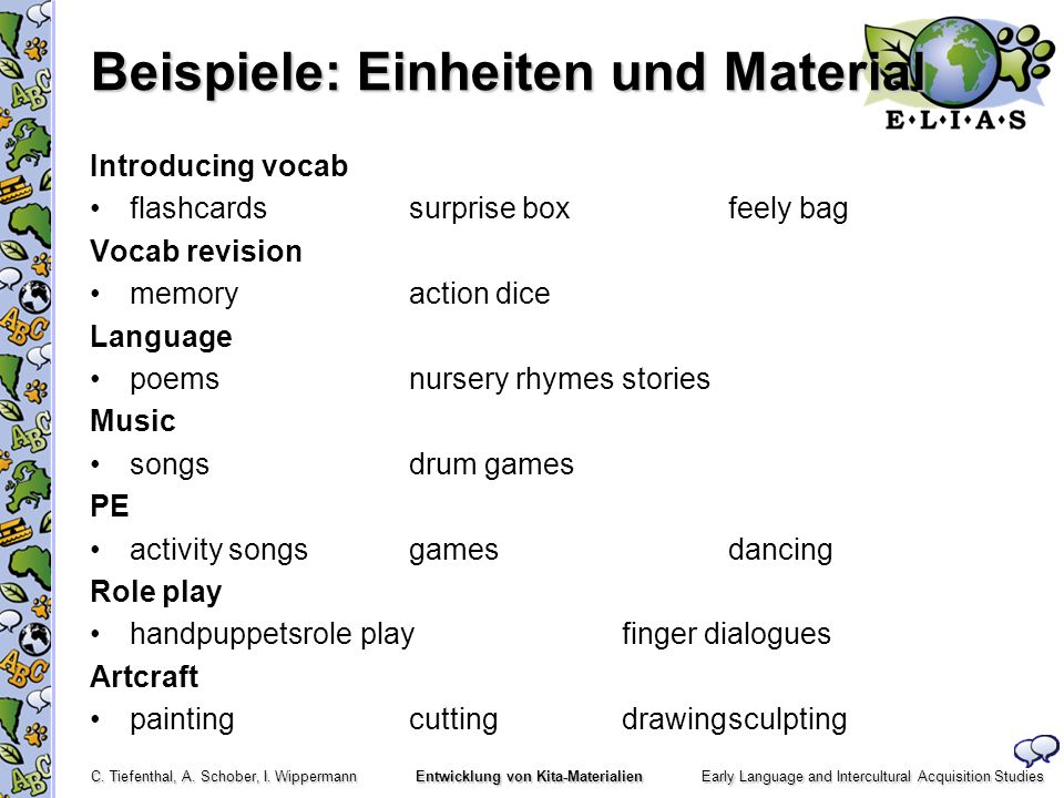 Beispiele: Einheiten und Material
