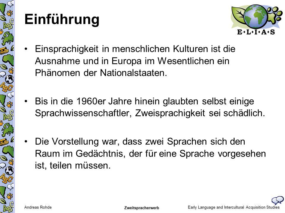 EinführungEinsprachigkeit in menschlichen Kulturen ist die Ausnahme und in Europa im Wesentlichen ein Phänomen der Nationalstaaten.