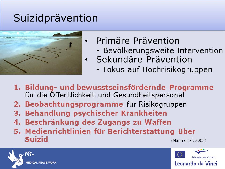 Suizidprävention Primäre Prävention - Bevölkerungsweite Intervention