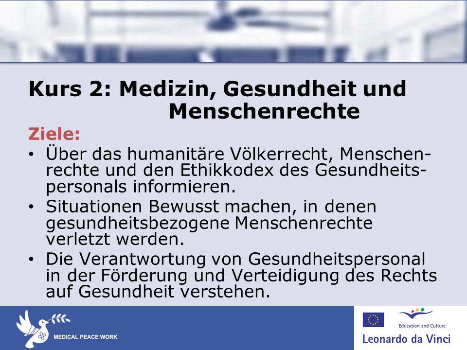 Kurs 2: Medizin, Gesundheit und Menschenrechte